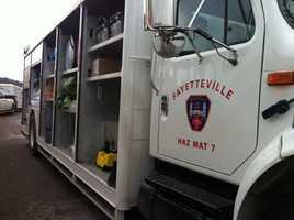 Hazmat on the scene of rollover accident on Huntsville Road