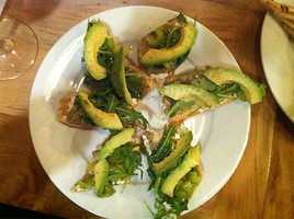 Pressroom in Bentonville: Avocado and Goat Cheese Crostini