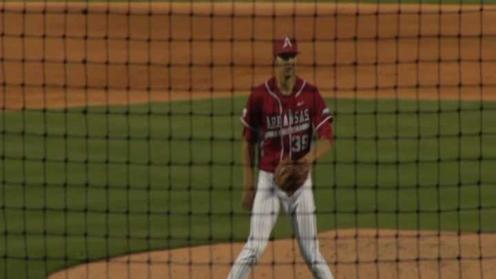 Razorback pitcher Chris Oliver after recording a strikeout to end the inning at Baum Stadium.