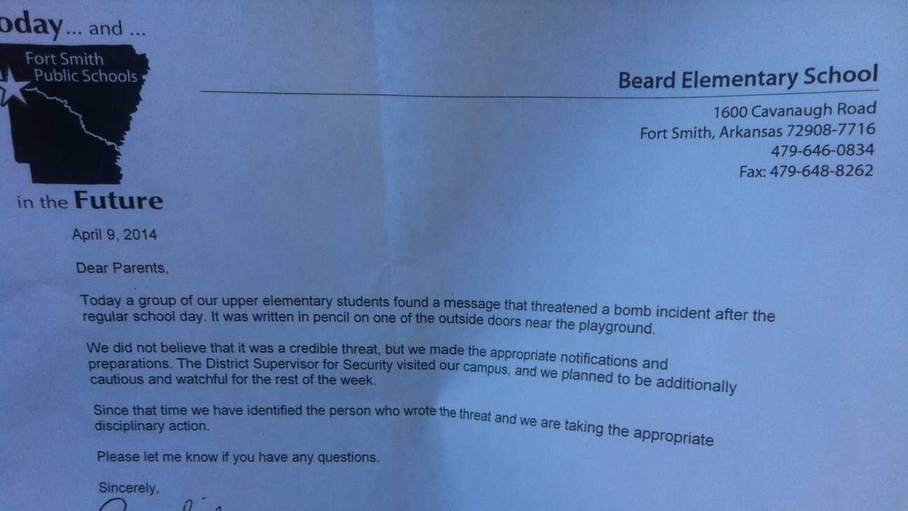 Parents of students at Beard Elementary school in Fort Smith received this letter Wednesday following a bomb threat.