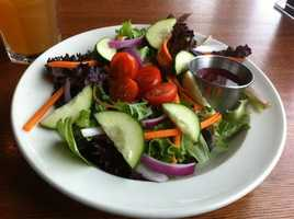 Flaps Down has many Salad choices on the menu. the Chef's Salad is their Famous House Salad including the Chef's choice of meats and cheese.