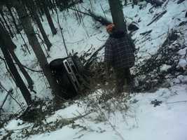Truck flipped in Avoca