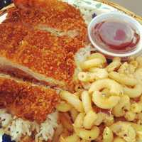 Hawaiian Brian's Katsu Chicken!  Notice Shanea's famous Macaroni Salad!  Words escape us on this diving pairing!