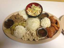 Hawaiian Brian's Threesome Platter!  Your choice of three meats, and sides!  Includes three scoops of rice and three drinks!  Date night?  Heck yeah!  Mercy!