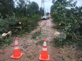 Tree previously blocking County Road 8340 in Madison County has already been cleared.