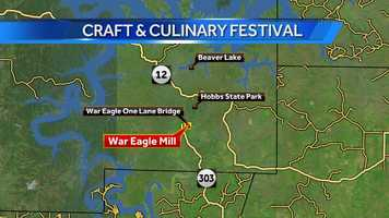 The War Eagle Mill Craft & Culinary Fair is on the grounds of the Historic War Eagle Mill.