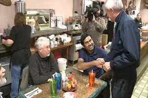 Asa Hutchinson campaigning at Neal's Cafe in Springdale on Tuesday.