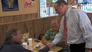 Mark Pryor campaigning at Stop by Sim's BBQ in Little Rock Tuesday at lunchtime.