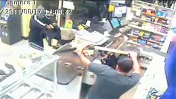 Oct. 2013: A convenience store clerk in New York turned the tables on an armed robber, chasing him off with a machete. A man came into the store and demanded money. The store employee pulled out a machete and chased the suspect through the parking lot