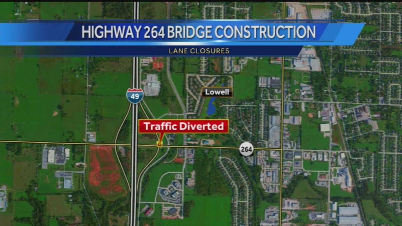 40/29's Ugochi Iloka reports on a lane closure that could slow down your drive this evening. The southbound lanes of I-49 will be closed just before you reach the highway 264 bridge where crews will divert traffic to the Lowell exit to get around the bridge construction.