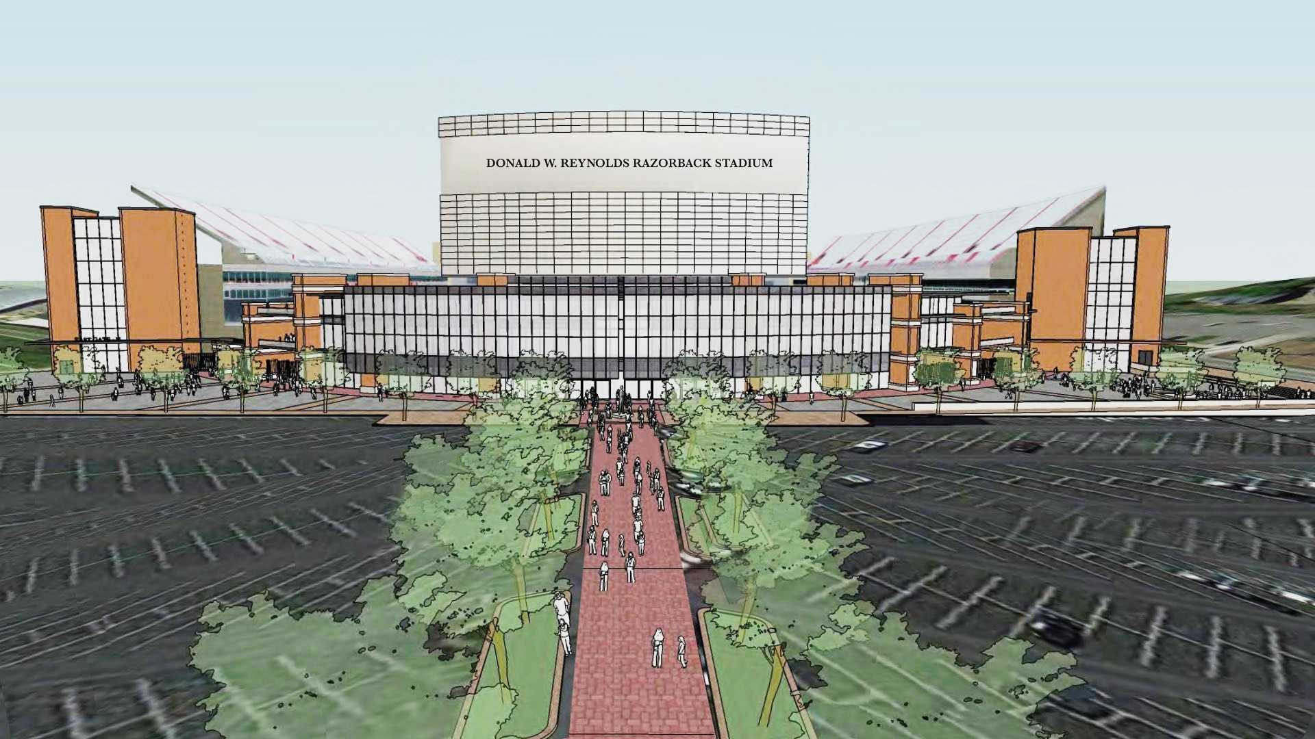 A rendering of what the north end of Donald W. Reynolds Razorback stadium will look like with proposed upgrades.