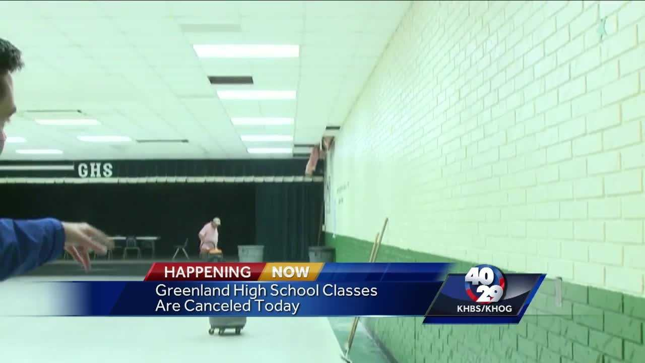 Greenland High School closed today because of storm damage