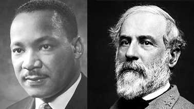 Civil Rights Leader Martin Luther King, Jr., left, and Confederate General Robert E. Lee, right.