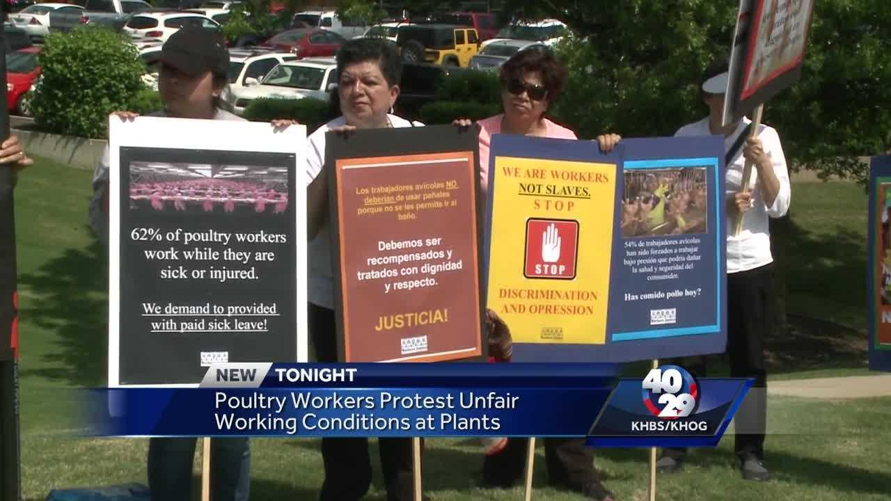 Poultry workers deliver protest petition to Tyson