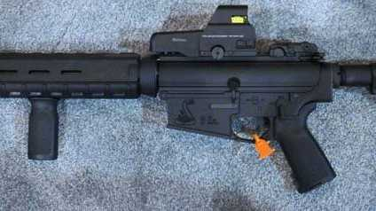 This image of a Bushmaster AR-15 is from http://www.gunsholstersandgear.com Chief Minor confirms this is the same style of rifle stolen Tuesday morning. However, this rifle in the pictures has an electronic EOTech sight and the stolen rifle does not.