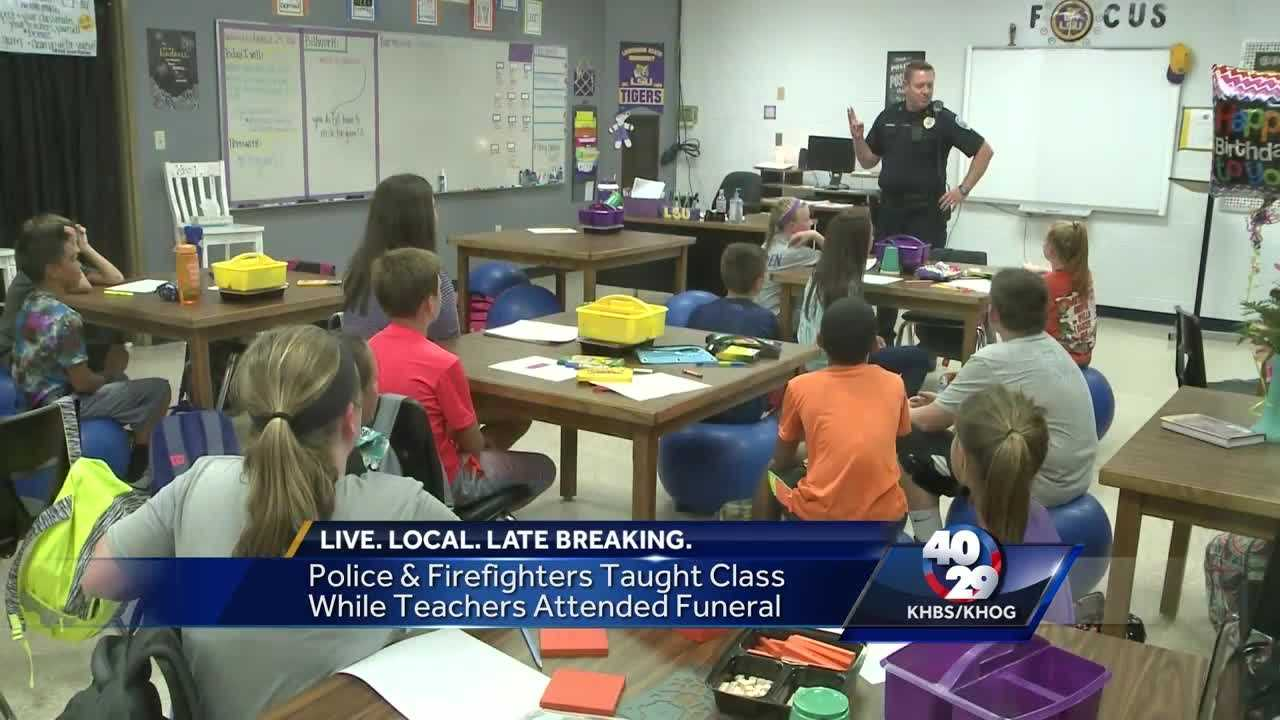 Police and firefighters fill in for teachers at Greenwood school