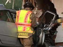 Two people were taken to the hospital after a car crashed into an apartment in Springdale.
