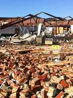 The Tushka Public School was obliterated after the tornado struck the Atoka County town.