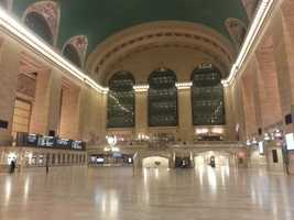 Grand Central Terminal is shut down and empty Monday morning as Metro-North service is suspended in preparation for Sandy.