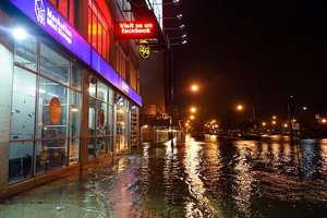 This photo provided by Dylan Patrick shows flooding along the Westside Highway near the USS Intrepid as Sandy moves through the area Monday, Oct. 29, 2012 in New York.