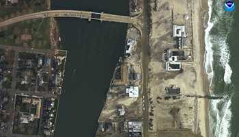 """Sea Bright, New Jersey. """"Before"""" image captured by Google&#x3B; """"After"""" image captured by NOAA's National Geodetic Survey."""