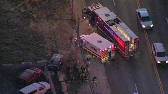 Crash, car fire, Highway 350