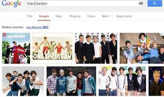 One Direction was the most-searched image on Google in 2012.  One Direction is a pop band from England.