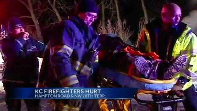 Two Kansas City, MO firefighters were injured battling a housefire in the northland.