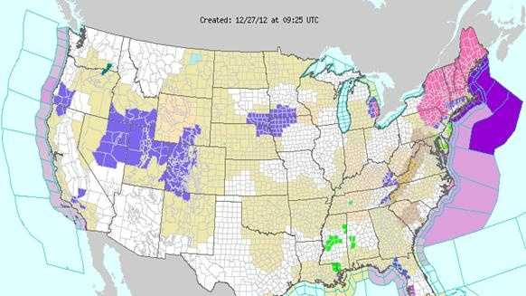 Weather map of watches, warnings