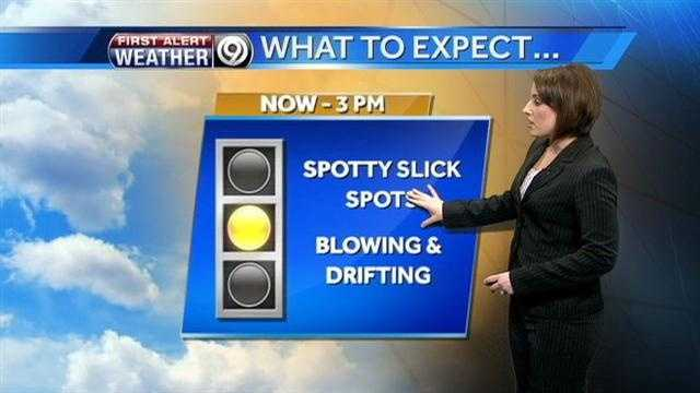 Blowing, drifting possible with snow today