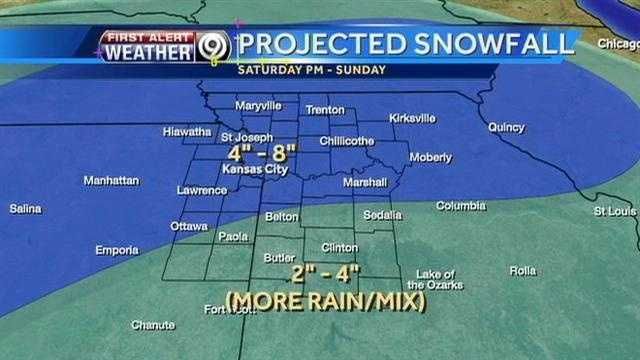 Possible snowfall amounts for Saturday into Sunday