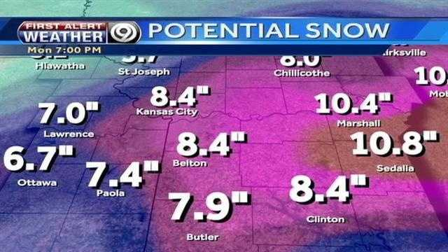 Possible snowfall amounts