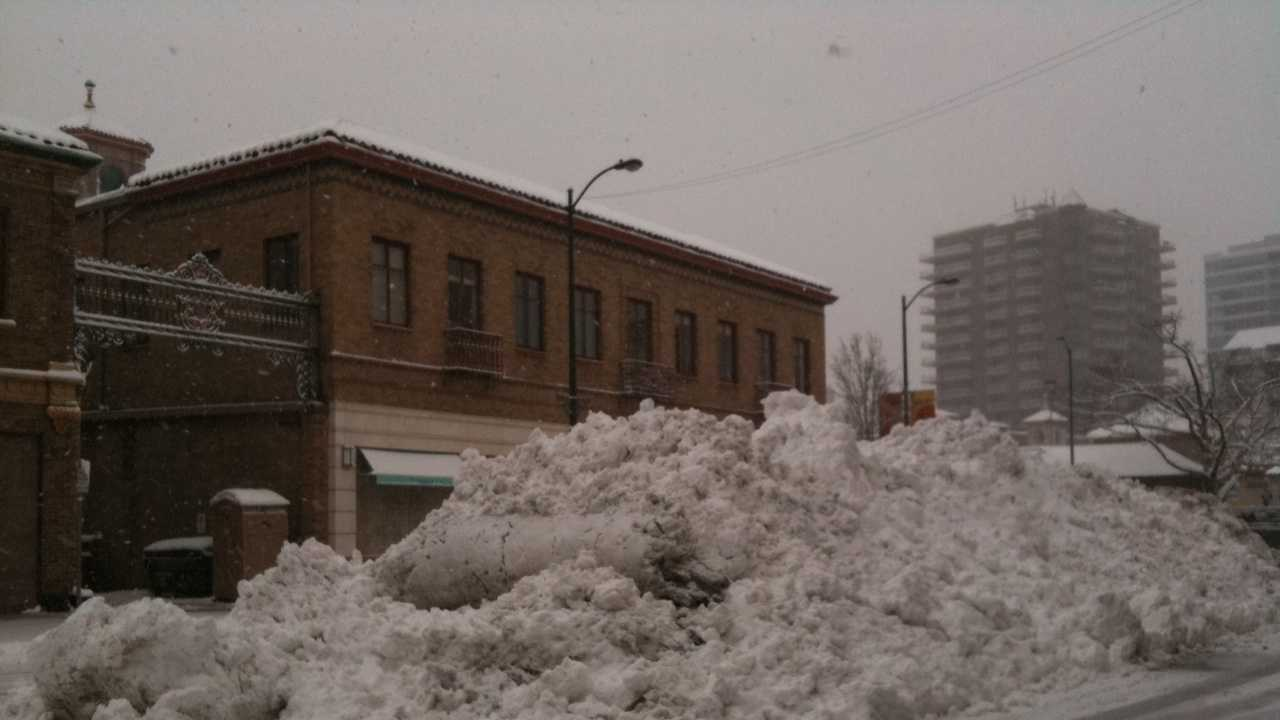 Snow pile on the Plaza