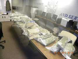 Atchison police Mike Wilson says investigators found 42 pounds of marijuana on the airplane Wednesday night at Amelia Earhart Airport.