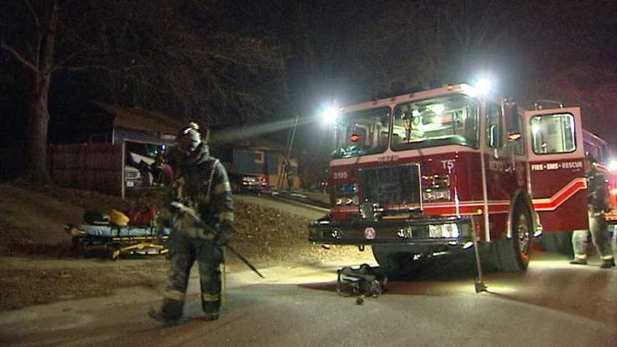 A fire on Kansas City's east side sent one person to a local hospital Saturday.