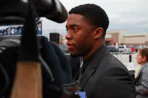 "Chadwick Boseman, who plays Jackie Robinson in ""42"""