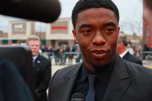 "Chadwick Boseman, who plays Jackie Robinson in ""42."" He said pleasing the Robinson family was the most important thing to him while making this movie."
