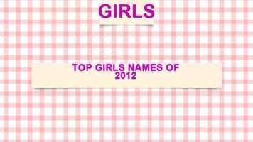 Top girls names of 2012
