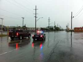 Gardner and Chouteau Trafficway, an area that commonly floods after heavy rain, was underwater again Monday.