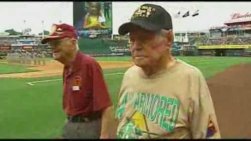 Image Veterans honored at Kauffman Stadium