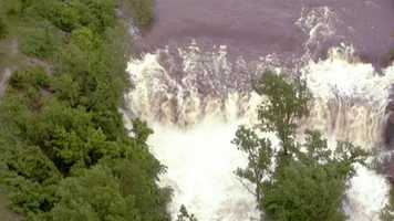 Spillway looks like a waterfall between Raintree Lake and Lake Winnebago