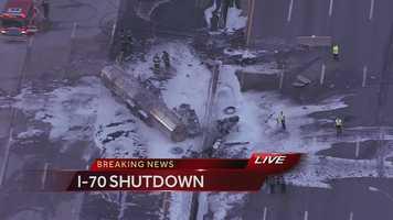 A tanker truck exploded on I-70 near I-435 on Friday morning.
