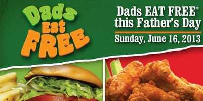 Dads eat free at participating Beef o Bradys locations.