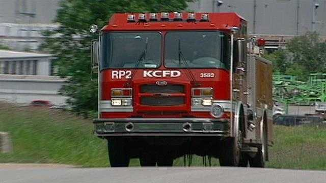 KC fire truck leaving Ford Claycomo plant