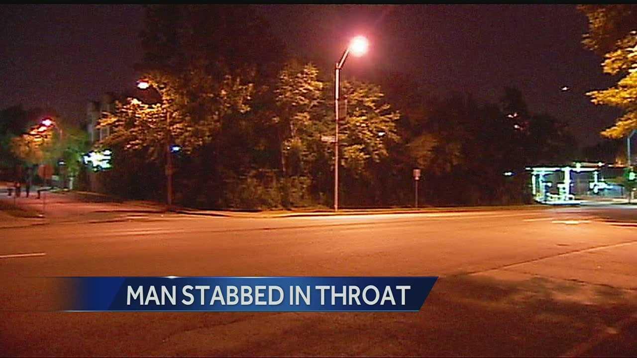 Man stabbed in throat