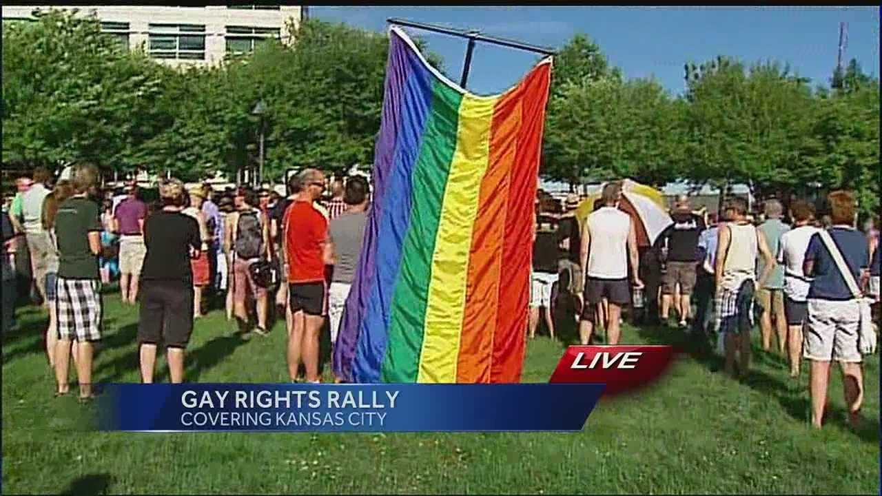 A rally in Kansas City brought people together to celebrate the U.S. Supreme Court's ruling striking down the federal Defense of Marriage Act.