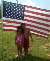 Longview Lake, Mo. - , Maleiah and Jaylin getready to go swimming at Longview Lake.