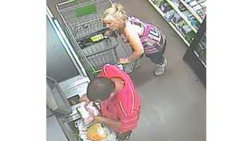 Police said the woman's stolen credit cards were used at several different locations near the gym within a half-hour of the burglary. Surveillance photos from those businesses show a man and a woman who police hope to identify.