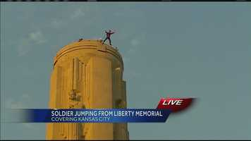 Images of British Army Major Alastair Macartney's BASE jump off of Kansas City's Liberty Memorial from a height of 217 feet.