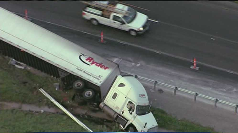 Overturned tractor-trailer WB I-70